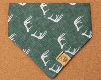 "Handmade Dog Bandana in Forest Green w/ Deer Antlers / ""Collingwood"" / Tie-On Bandana / Organic Cotton / Made To Order Pet Wear"