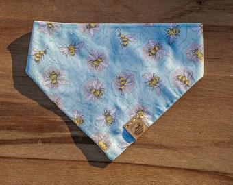 "Handmade Dog Bandana in Sky Blue & Yellow Honey Bees / ""Bee Happy"" / Tie-On Bandana / Organic Cotton / Made To Order Pet Wear"
