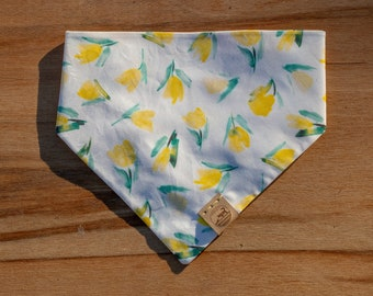 "Handmade Dog Bandana in Yellow Watercolor Tulips / ""Holland"" / Tie-On Bandana / Organic Cotton / Made To Order Pet Wear"