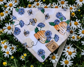 """Handmade Dog Bandana in Yellow and Lavender w/ Honey Bees / """"Busy Bee"""" / Tie-On Bandana / Organic Cotton / Made To Order Pet Wear"""