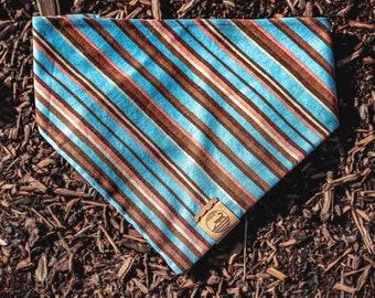 "Handmade Dog Bandana in Orange, Chocolate, and Blue Stripes / ""Benson"" / Tie-On Bandana / Organic Cotton / Made To Order Pet Wear"