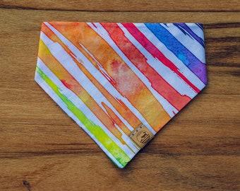 "Handmade Dog Bandana in Rainbow Watercolor Stripes / ""Pride"" / Tie-On Bandana / Organic Cotton / Made To Order Pet Wear"