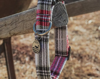 """Handmade Dog Collar in Green, Red, & White Flannel Plaid / """"Dover"""" / Side Buckle Collar / Kaufman Flannel / Made To Order Pet Wear"""