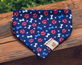 "Handmade Dog Bandana in Red, White, & Blue Paw Prints / ""Patriot"" / Tie-On Bandana / Organic Cotton / Made To Order Pet Wear"