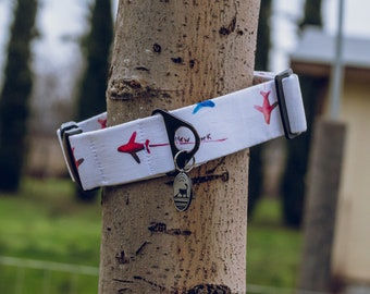 """Handmade Dog Collar in Red, White, & Blue with Jet Airplaines / """"Co-Pilot"""" / Side Buckle Collar / Organic Cotton / Made To Order Pet Wear"""