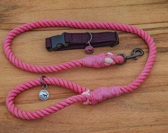 Hot Pink Rope Dog Leash / Nautical Dog Leash / Braided Cotton Dog Leash / Hand Dyed Rope Leash