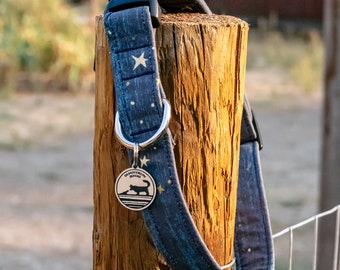 """Handmade Dog Collar in Navy and Gold Stars / """"Milky Way"""" / Side Buckle Collar / Organic Cotton / Made To Order Pet Wear"""