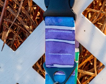 """Handmade Dog Collar in Rainbow Watercolor Stripes / """"Pride"""" / Side Buckle Collar / Organic Cotton / Made To Order Pet Wear"""