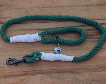 Forest Green and White Rope Dog Leash / Nautical Dog Leash / Braided Cotton Dog Leash / Hand Dyed Rope Leash