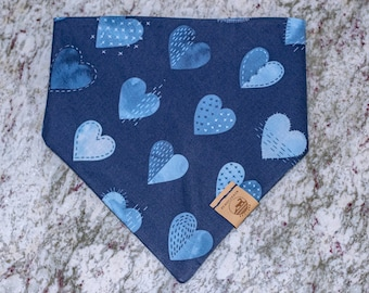 "Handmade Dog Bandana in Navy Blue Hearts / ""Stitched With Love"" / Tie-On Bandana / Organic Cotton / Made To Order Pet Wear"