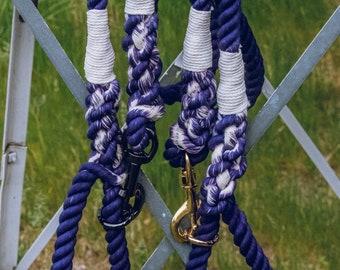 Navy and White Dog Leash / Nautical Dog Leash / Braided Cotton Dog Leash / Hand Dyed Rope Leash