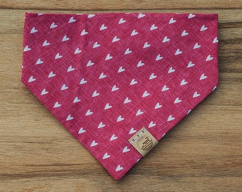 """Handmade Dog Bandana in Red with White Hearts / """"Big Love"""" / Tie-On Bandana / Organic Cotton / Made To Order Pet Wear"""