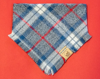 """Handmade Dog Bandana in Red, White, & Blue Plaid / """"Anchorage"""" / Tie-On Bandana / Super Soft with Frayed Edges / Made To Order Pet Wear"""