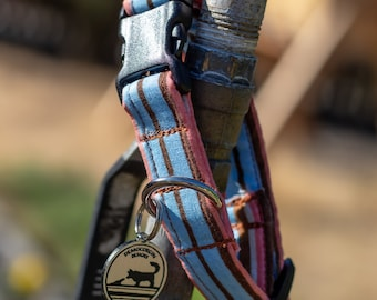 "Handmade Dog Collar in Orange, Chocolate, and Blue Stripes / ""Benson"" / Side Buckle Collar / Organic Cotton / Made To Order Pet Wear"