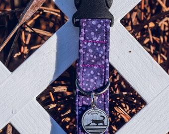 """Handmade Dog Collar in Purple Polka Dots / """"Basalt"""" / Side Buckle Collar / Organic Cotton / Made To Order Pet Wear"""