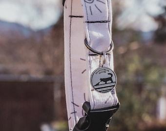 "Handmade Dog Collar in Gray & Cream Suns / ""Tucson"" / Side Buckle Collar / Organic Cotton / Made To Order Pet Wear"