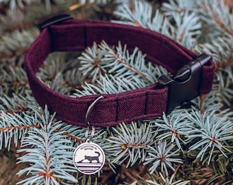 "Handmade Dog Collar in Burgundy / ""Columbus"" / Side Buckle Collar / Soft Flannel / Made To Order Pet Wear"