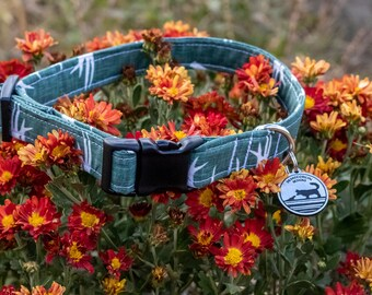 """Handmade Dog Collar in Green with Deer Antlers / """"Collingwood"""" / Side Buckle Collar / Organic Cotton / Made To Order Pet Wear"""