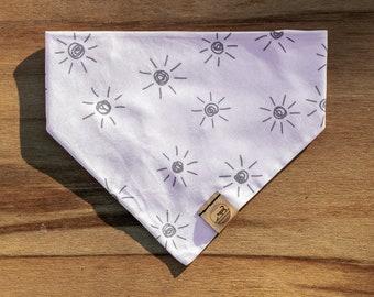 "Handmade Dog Bandana in Cream & Gray Suns / ""Tucson"" / Tie-On Bandana / Organic Cotton / Made To Order Pet Wear"