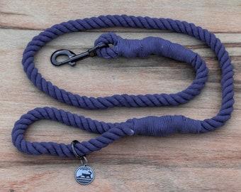 Navy Blue Rope Dog Leash / Nautical Dog Leash / Braided Cotton Dog Leash / Hand Dyed Rope Leash