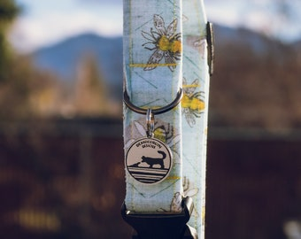 """Handmade Dog Collar in Sky Blue & Yellow Honey Bees / """"Bee Happy"""" / Side Buckle Collar / Organic Cotton / Made To Order Pet Wear"""