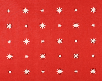 One Metre of Christmas Starlight Soft Furnishing Fabric in Red
