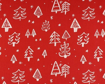One Metre of Christmas Tree Soft Furnishing Fabric in Red