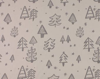 One Metre of Christmas Tree Soft Furnishing Fabric in White