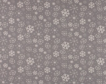 One Metre of Snowflake Soft Furnishing Fabric in Grey