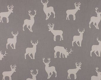 One Metre of Christmas Stags Soft Furnishing Fabric in Silver