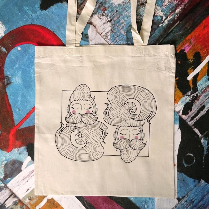 Beard illustrated bag  cotton bag  bag for life  book bag  image 0