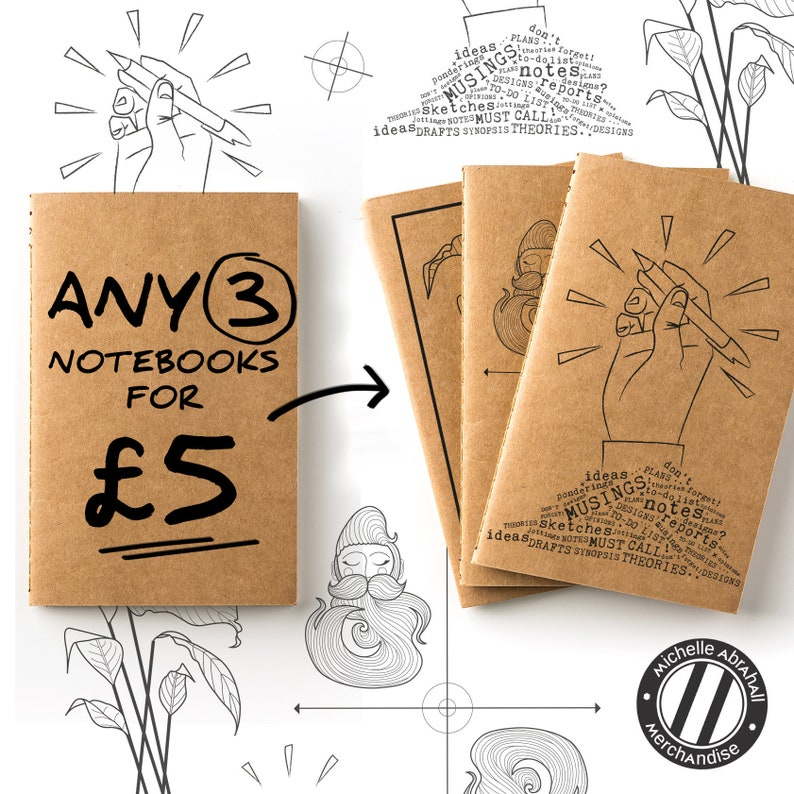 Pack of 3 small notebooks  gift for writer  writers notebook 2 beard 1 lily