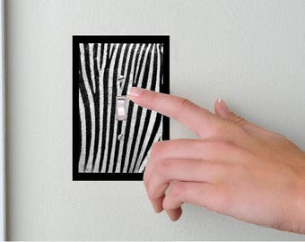 Zebra- Lightswitch Cover-Zebra Room Decor-Animal print decor