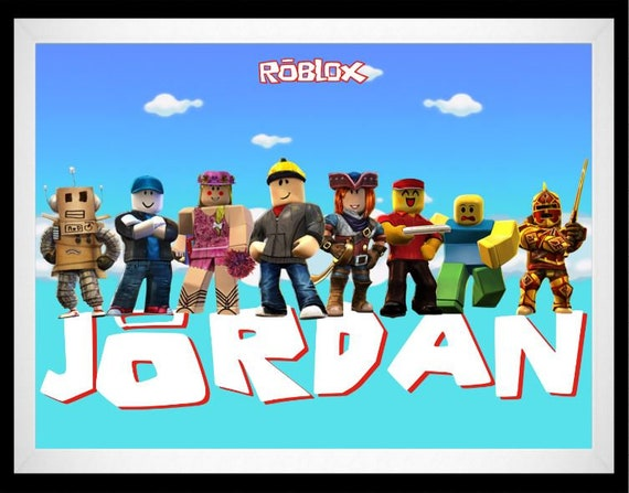 Roblox Personalized Name Framed Wall Decor Roblox Printed Etsy