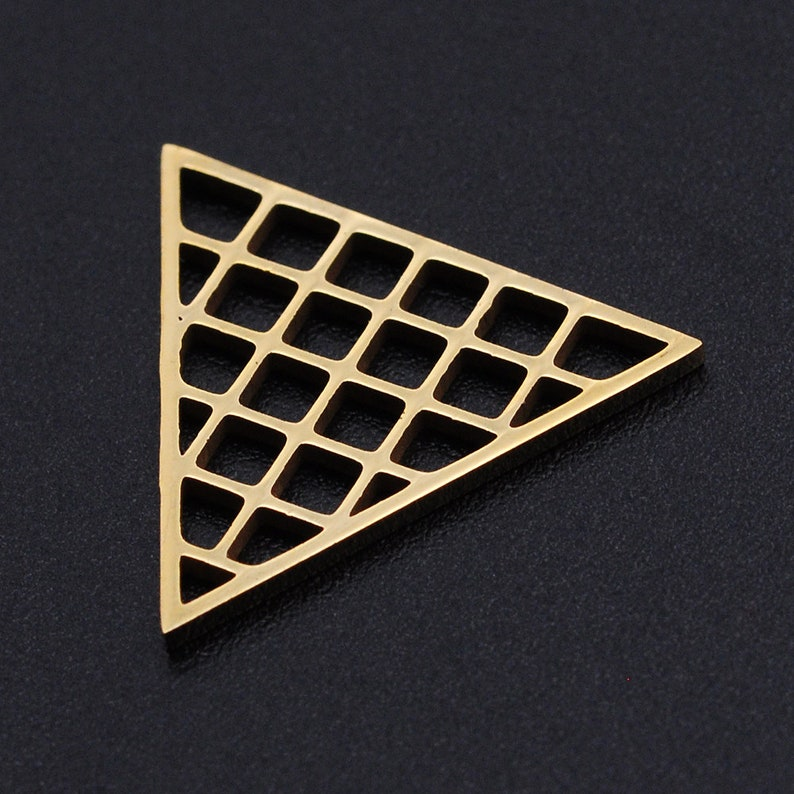 Golden Hollow Grid Triangle Connector Stainless Steel Charms Jewellery Making Pendant Charms Finding Supplies Wholesale JN905-2x5