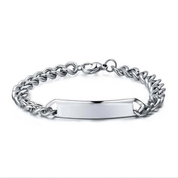6854737df6 Personalise Stainless Steel Blank ID Bracelet Curb Chain   Etsy