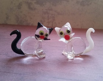 Two small cats of glass Lauscha 70s glass decoration