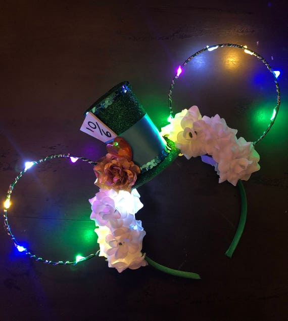 Light Up Mad Hatter Disney Ears Minnie Mouse Ears Mickey Etsy