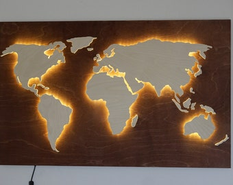 Wood World Map wall art Flat earth LED world map as wall | Etsy