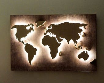 Wooden World Map Etsy