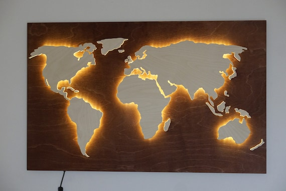 Led World Map.Led World Map Of Wood Abstract Art World Map Wall 3d Wall Etsy