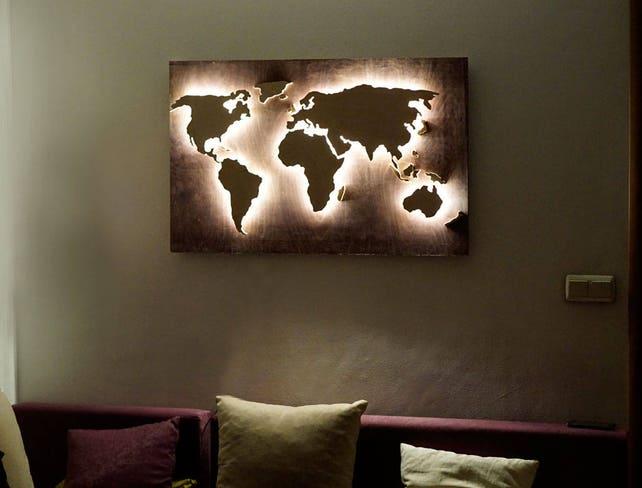 LED Weltkarte Abstrakte Kunst 3d Weltkarte Leuchtende 3d | Etsy