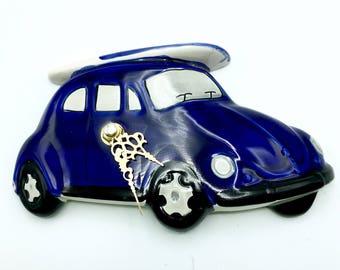 Uhr Wand Oldtimer Keramik Blue Beetle Raum Kind Küche Zimmer Bad Geschenk  Geburtstag Junge Teen Mann