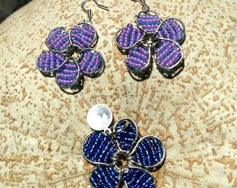 Beaded flowers; necklace, earrings, or set