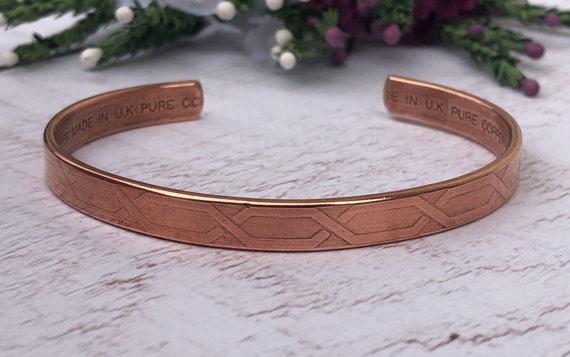 Geometric Patterned Copper Cuff Bracelet.
