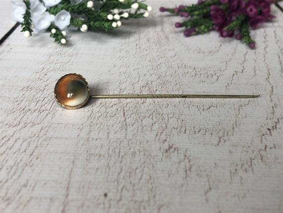 Antique Cat's Eye Pin, Vintage Brass Stick Pin, Operculum Pin.