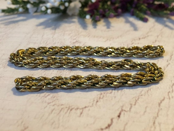 Gold Tone Rope Chain, Vintage Gold Chain