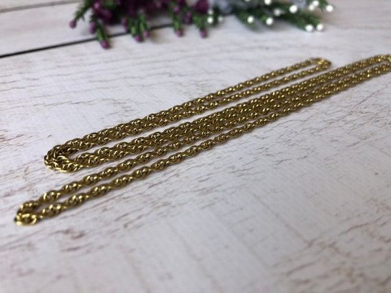 Vintage Gold Tone Chain, Long Gold Chain