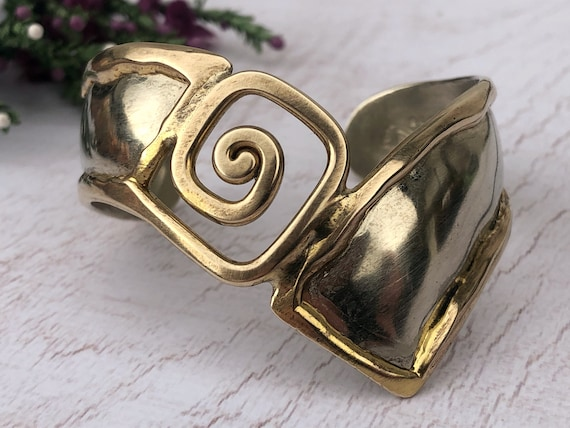 Sterling Silver and Gold Cuff Bracelet.