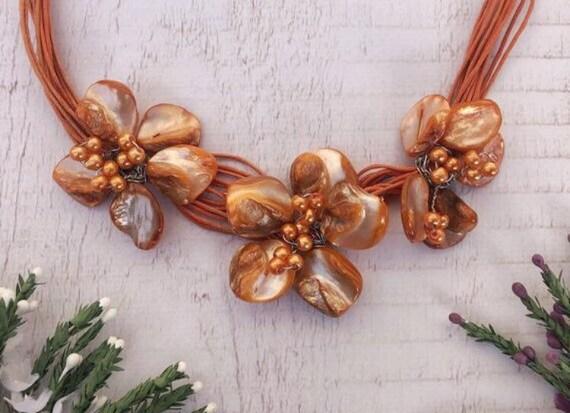 Orange Retro Flower Necklace.